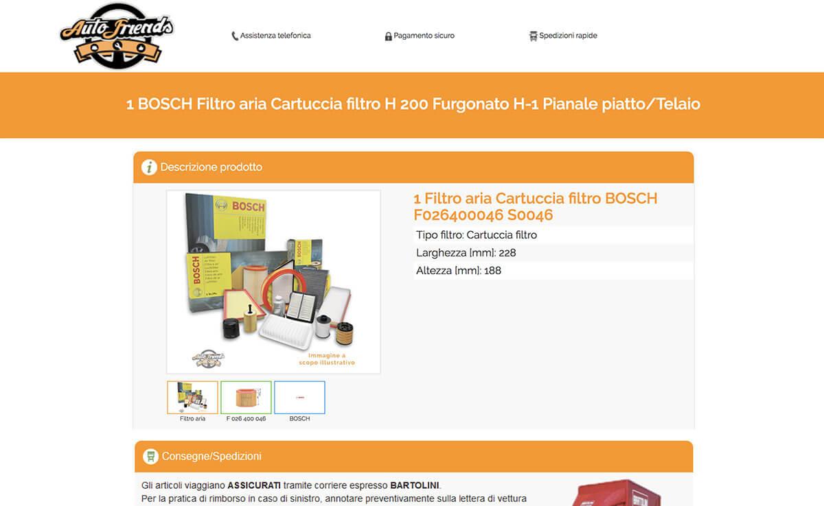 Guarda un esempio di Sito Ecommerce B2C Ricambi Auto - autofriends